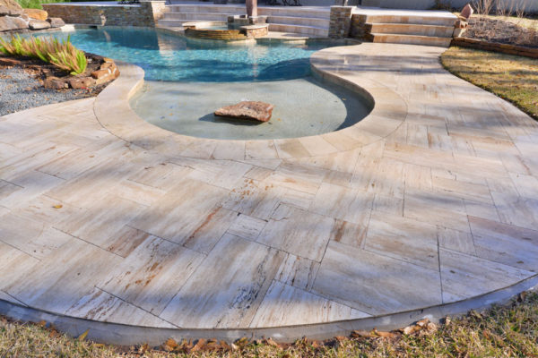 Wooden Travertine Paver Versailles Pattern Tumbled 6 Tan Brown Beige Cream Outdoor Floor Wall Pool Patio Backyard Tub Shower Vanity QDIsurfaces