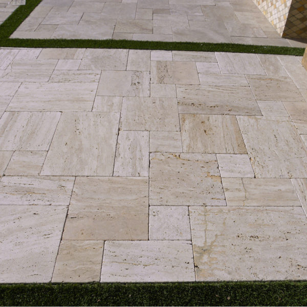 Wooden Travertine Paver Versailles Pattern Tumbled Tan Brown Beige Cream Outdoor Floor Wall Pool Patio Backyard Tub Shower Vanity QDIsurfaces