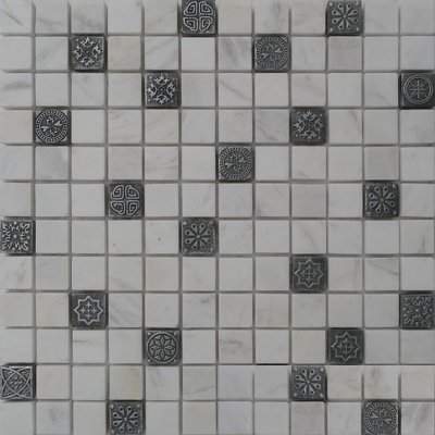 Zeugma BW 002 Glass Mosaic Tile Beige Cream White Black Gray Outdoor Indoor Wall Backsplash Tub Shower Vanity QDIsurfaces