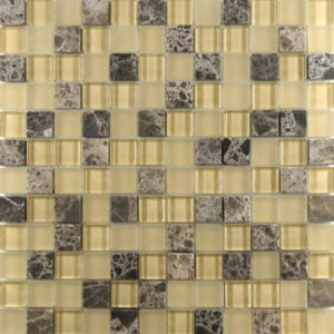 Zeugma Blended GM SES07 Glass Mosaic Tile 12x12 Beige Cream Yellow Brown Tan Outdoor Indoor Wall Backsplash Tub Shower Vanity