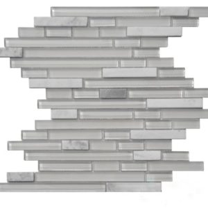 Zeugma GM15Z 045 Glass Mosaic Tile Gray Outdoor Indoor Wall Backsplash Tub Shower Vanity QDIsurfaces