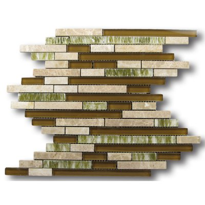 Zeugma GMBN15Z 006 Glass Mosaic Tile 12x12 Brown Tan Beige Cream Green White Black Outdoor Indoor Wall Backsplash Tub Shower Vanity