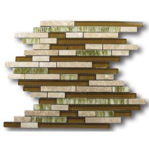 Zeugma GMBN15Z 006 Glass Mosaic Tile Brown Tan Beige Cream Green White Black Outdoor Indoor Wall Backsplash Tub Shower Vanity QDI