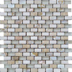 Zeugma GMSH 005 Glass Mosaic Tile 12x12 1Brown Tan Beige Cream Gray White Black Outdoor Indoor Wall Backsplash Tub Shower Vanity QDI