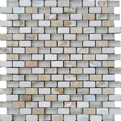 Zeugma GMSH 005 Glass Mosaic Tile Brown Tan Beige Cream Gray White Black Outdoor Indoor Wall Backsplash Tub Shower Vanity QDIsurfaces
