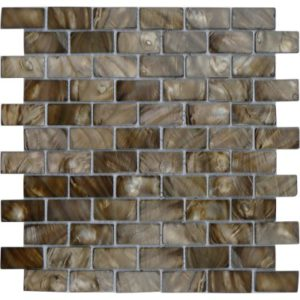 Zeugma Mother of Pearl SHB13 Glass Mosaic Tile 12x12 Brown Tan Beige Cream Outdoor Indoor Wall Backsplash Tub Shower Vanity