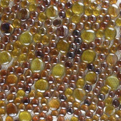 Zeugma Rain Drops QQ DX 16 Glass Mosaic Tile Brown Tan Yellow Pink Outdoor Indoor Wall Backsplash Tub Shower Vanity QDI