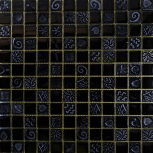 Zeugma Relief RL 001 Glass Mosaic Tile 12x12 Black Gray Outdoor Indoor Wall Backsplash Tub Shower Vanity QDIsurfaces