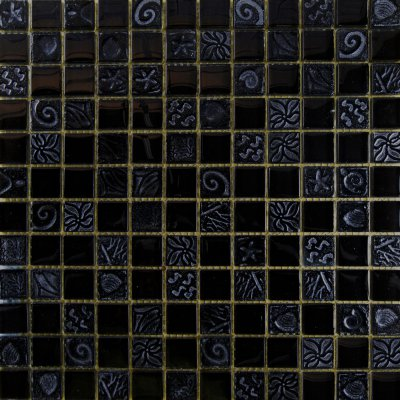 Zeugma Relief RL 001 Glass Mosaic Tile Black Gray Outdoor Indoor Wall Backsplash Tub Shower Vanity QDIsurfaces