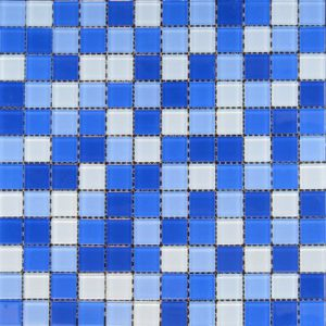 Zeugma Retro TMS 818 Glass Mosaic Tile Blue White Outdoor Indoor Wall Backsplash Tub Shower Vanity QDIsurfaces
