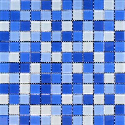 Zeugma Retro TMS 818 Glass Mosaic Tile Blue White Outdoor Indoor Wall Backsplash Tub Shower Vanity QDIsurfaces
