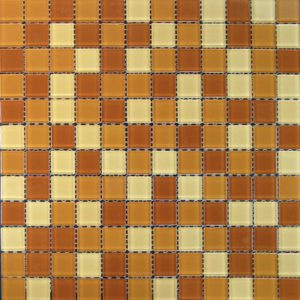 Zeugma Retro TMS W135 Glass Mosaic Tile Orange Peach Tan Brown Beige Cream Outdoor Indoor Wall Backsplash Tub Shower Vanity QDI