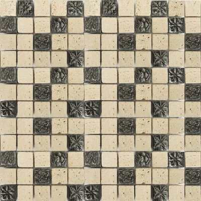 Zeugma TC 009 Glass Mosaic Tile 12x12 Gray Beige Cream Black Outdoor Indoor Wall Backsplash Tub Shower Vanity QDIsurfaces