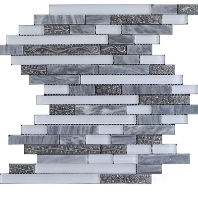 Zeugma TC15Z 106 Glass Mosaic Tile 12x12 Gray White Outdoor Indoor Wall Backsplash Tub Shower Vanity QDIsurfaces