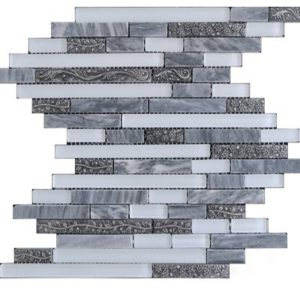 Zeugma TC15Z 106 Glass Mosaic Tile Gray White Outdoor Indoor Wall Backsplash Tub Shower Vanity QDIsurfaces