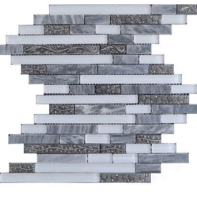 Zeugma TC15Z 106 Glass Mosaic Tile Gray White Outdoor Indoor Wall Backsplash Tub Shower Vanity QDIsurfaces