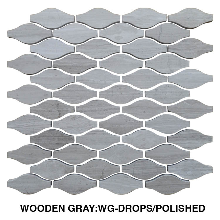Wooden Gray Drops Limestone Mosaic Tile Qdi Surfaces