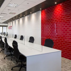 1 METRO Red 4x8 ceramic wall tile QDI Surfaces product room scene 800x800 1