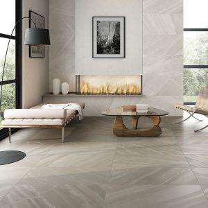 1 BURLINGSTONE Taupe 12x24 porcelain floor wall tile QDI Surfaces product room scene 800x800 1