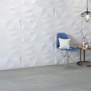 1 MAISON Cristalo Satin 12x36 ceramic wall tile QDI Surfaces product room scene 800x800 1