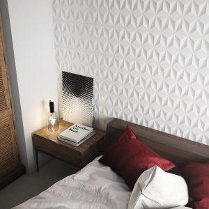 1 MAISON Origami Satin 12x36 ceramic wall tile QDI Surfaces product room scene 800x800 1