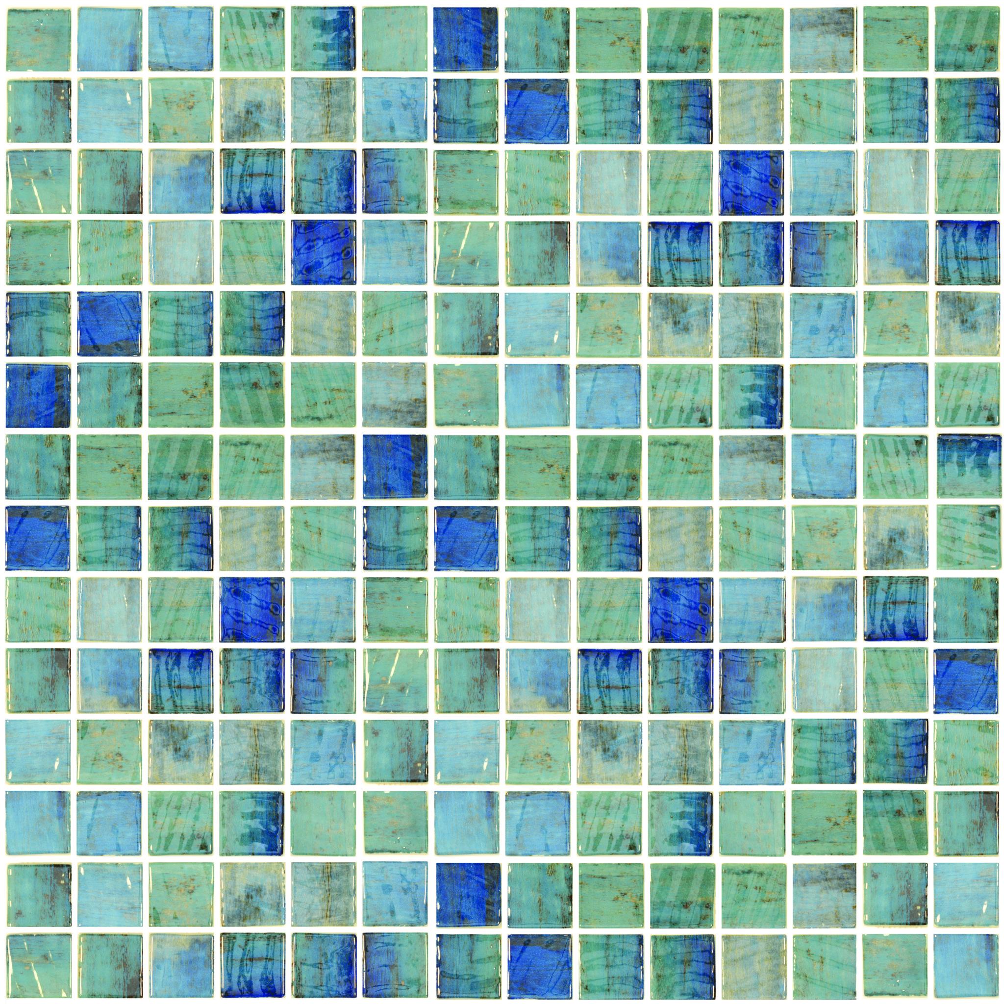 Vanguard Forest Blue 1x1 2x2 Glass Mosaic Tile Qdi Surfaces