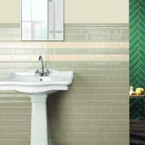 1 LONDON Sage 3x8.7 ceramic wall tile QDI Surfaces product room scene 800x800 1
