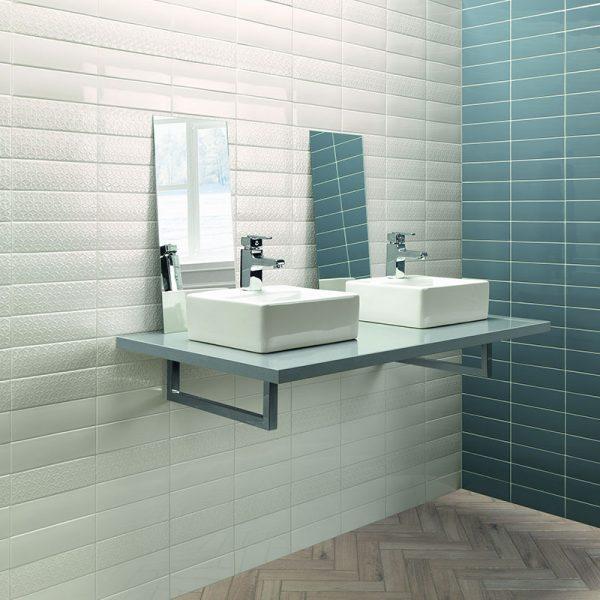 1 LONDON White 3x8.7 ceramic wall tile QDI Surfaces product room scene 800x800 1