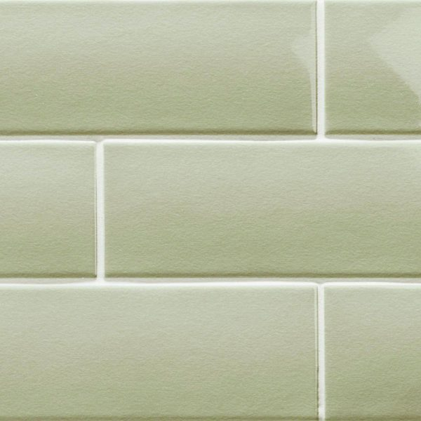 3 LONDON Sage 3x8.7 ceramic wall tile QDI Surfaces product close up 800x800 1