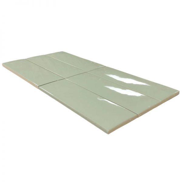 4 LONDON Sage 3x8.7 ceramic wall tile QDI Surfaces product angle 800x800 1