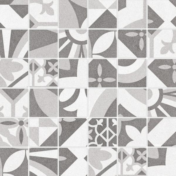 Bouquet Eiffel Porcelain Flooring Wall Tile 2x2 Mosaic Tile Decorative Glazed Gray White Beige Cream QDI Surfaces