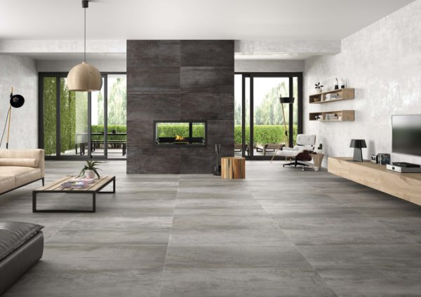 Acier White 24x48 Glazed Rectified Porcelain Floor Wall Tile White Beige Cream QDI Surfaces Room Scene