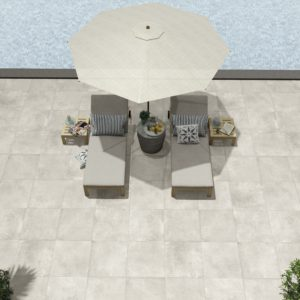 Monolith Pearl 24x24 Rectified Porcelain Paver Beige Cream Outdoor Patio Backyard Pool QDI Surfaces Room Scene