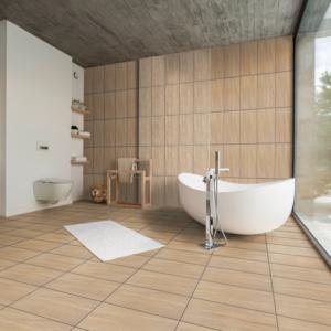 Montana Fawn 12x24 Porcelain Wall Floor Tile Brown Tan QDI Surfaces Room Scene