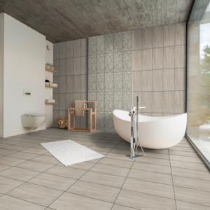 Montana Grey 12x24 Porcelain Floor Wall Tile Gray QDI Surfaces Room Scene