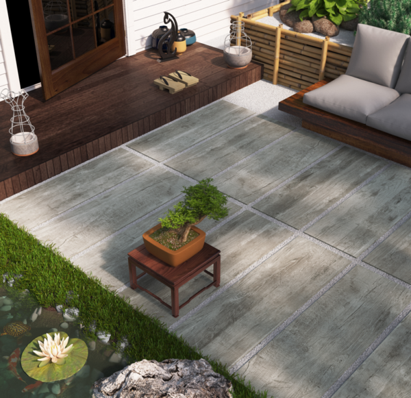 Monte Verde Gray 16x48 Through Bodied Porcelain Paver Brown Tan Gray Outdoor Patio Backyard Pool QDI Surfaces Room Scene