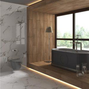 Carrara White 24x24 Glazed Matte Porcelain Floor Wall Tile White Gray QDI Surfaces