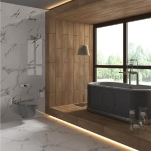 Carrara White 24x48 Glazed Matte Porcelain Floor Wall Tile White Gray QDI Surfaces