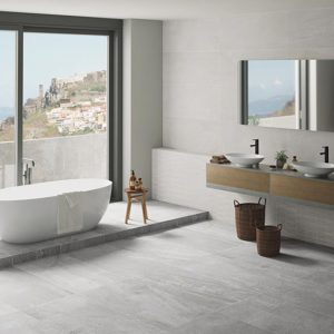 Johnstone Colletion 24x48 Glazed Rectified Porcelain Floor Wall Tile Gray White QDI Surfaces