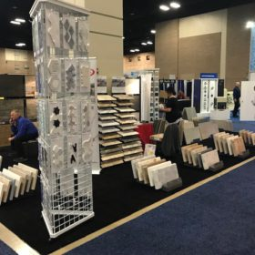 SW Pool and Spa Show San Antonio QDI Surfaces Travertine Porcelain Flooring Wall Tile Pavers - Booth before opening