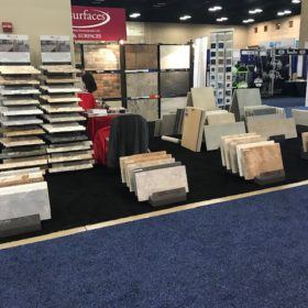 SW Pool and Spa Show San Antonio QDI Surfaces Travertine Porcelain Flooring Wall Tile Pavers - Side of booth prior
