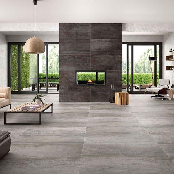1 ACIER Iron 24x48 porcelain floor wall tile QDI Surfaces product room scene 800x800 1