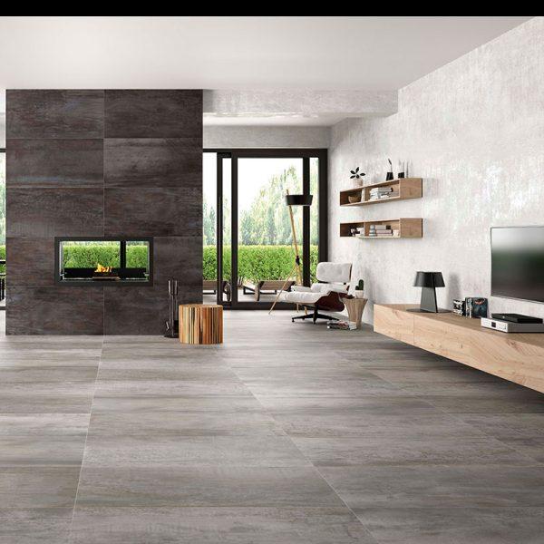 1 ACIER White 24x48 porcelain floor wall tile QDI Surfaces product room scene 800x800 1
