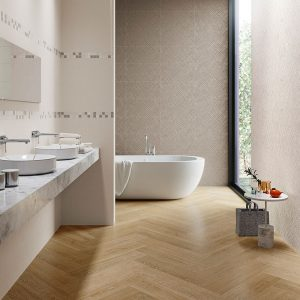 1 ATENEA Crema 12x24 ceramic wall tile QDI Surfaces product room scene 800x800 1
