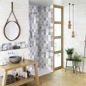 Trapani Art Gris 10x28 white bodied ceramic tile interior gray blue white beige qdi surfaces