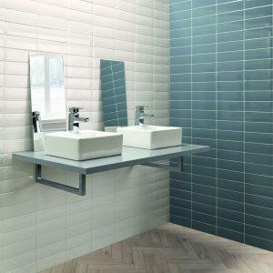 1 LONDON City Victoria White Deco 3x8.7 ceramic wall tile QDI Surfaces product room scene 800x800 1