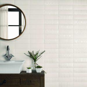 1 LONDON City White Matt Deco 3x8.7 ceramic wall tile QDI Surfaces product room scene 800x800 1