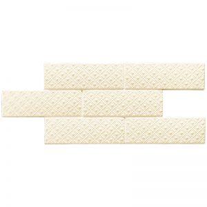 2 LONDON Camden Bone Deco 3x8.7 ceramic wall tile QDI Surfaces product image 800x800 1
