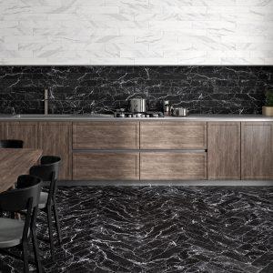 1 ALBION Black 4x24 porcelain wall tile QDI Surfaces product room scene 800x800 1
