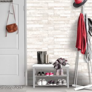ROCKWALL Ivory 6x24 Glazed Porcelain Wall Tile QDI Surfaces Room Scene